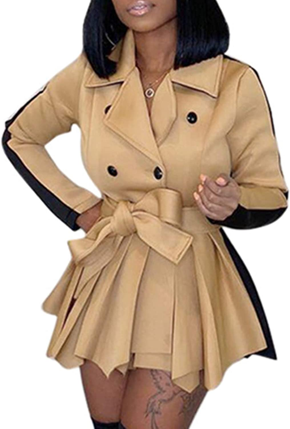 SAMACHICA shopping Women's shop Trench Coats Short Double-Breasted Block Color