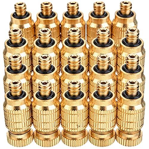 Kit de boquillas de nebulización de Alta presión de 100 Piezas para Sistema de refrigeración Boquillas Mister de latón con Rosca de 3/16