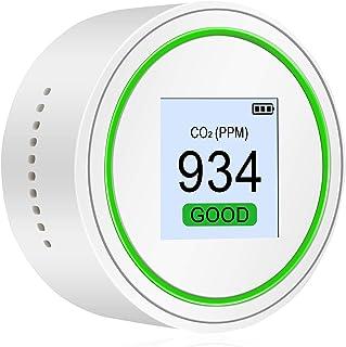 KK moon 二酸化炭素濃度測定器 CO2 TVOCテスター 空気汚染測定器小型 空気品質テスター CO2とTVOC 高精度空気品質モニター(光と音のアラーム付き)