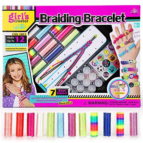 HOWAF Freundschaftsarmbänder Herstellung Set für Mädchen Teenager Lernen Sie das Weben von Armbändern Schmuckherstellung Basteln für Mädchen Geburtstag, Armbänder für Kinder