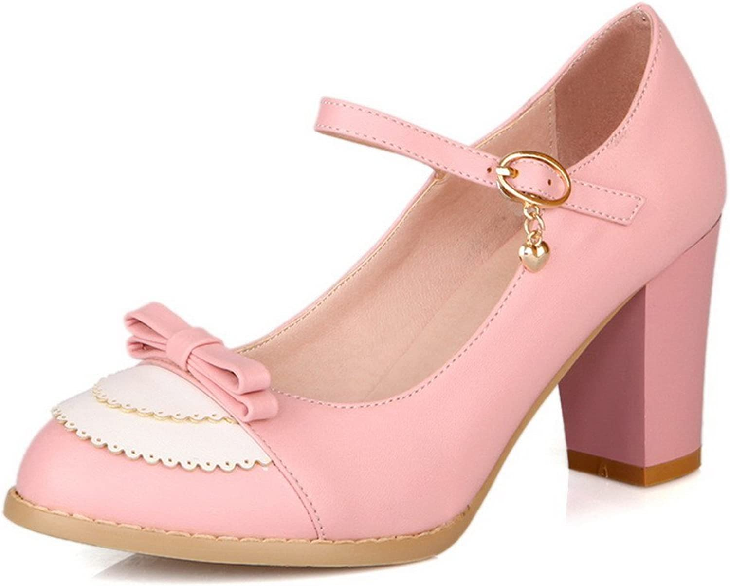 WeiPoot Women's Assorted colors Closed Round Toe Kitten Heel PU Pumps with Bows