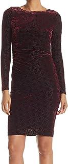 Tommy Hilfiger womens Long Sleeve Burnout Velvet Side Rouge Dress Dress