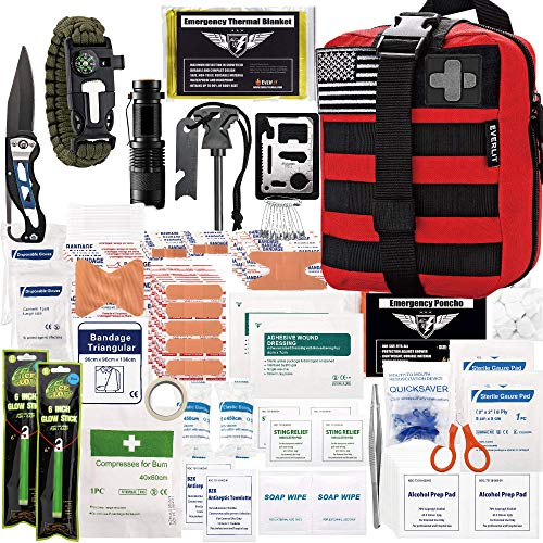 EVERLIT 250 Pieces Survival First Aid Kit IFAK Molle System Compatible Outdoor Gear Emergency Kits Trauma Bag for Camping Boat Hunting Hiking Home Car Earthquake and Adventures (Red)