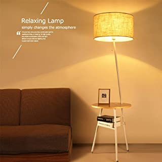 Wellmet Contemporary Combination End Table Floor Lamp, with USB Port Attached for Living Room Sofa,Adjustable Drum Shade Lamp Beside Table Nightstand Built in Charging Station for Bedroom