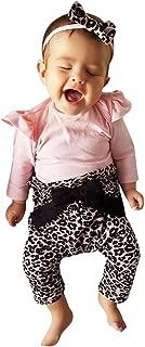 Lanyun Infant Baby Girls Cute Ruffle Leopard Print Pants Bowknot Romper Headband