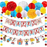 30pcs Carnival Circus Party Decorations Supplies, Carnival Birthday Party Ideas, Circus Happy Birthday Banner Balloons Tissue Paper Flowers Pom Poms Honeycomb Ball Circle Dots, Hanging Garland Banner for Circus Birthday Baby Shower Clown Backdrop Supplies