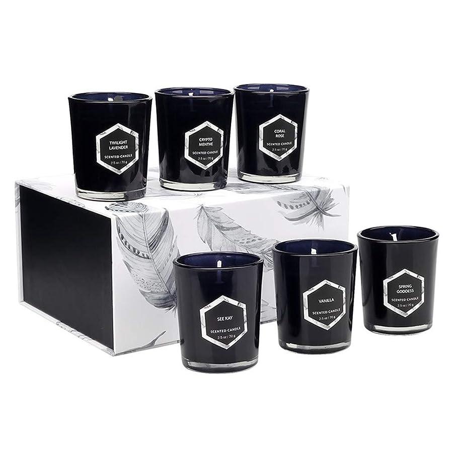 間接的オープニングエキスパート香り付きキャンドルギフトセット、ヨガバスリラックスまたはクリーンエアー用の天然大豆ワックスで作られたアロマセラピーキャンドル、6個