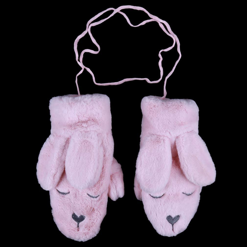 Firecolor Women Animal Plush Mittens Rabbit Ear Gloves Winter Soft Warm Female Girls Gloves Gifts