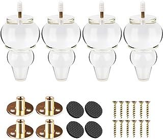 Btowin - Patas de acrílico para muebles 4 piezas eje de cristal transparente con rosca M8 de 5/16 pulgadas y placa de m...