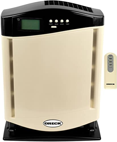 Oreck Air Purifier Revitalizer with ion HEPA Filtration System Technologies 3-speed with Remote Control and Warranty (Beige Almond)