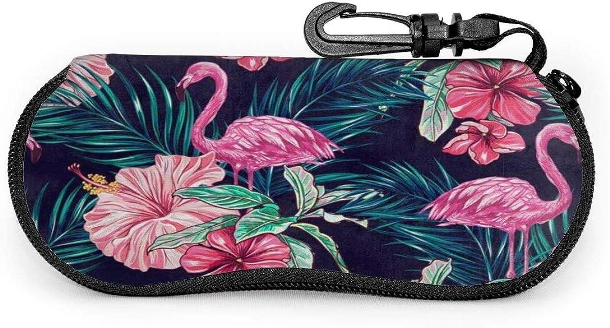 Flamingos Flower Sunglasses Soft Case Ultra Light Neoprene Zipper Eyeglass Case With Key Chain