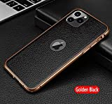 RUNEEE La Piel de Vacuno Genuino de Nuevo Caso for iPhone 11 MAX Pro Teléfono de Nuevo Caso de protección for iPhone SE 2020 XS MAX X R 7 8 Plus (Color : Golden Black, Size : For iPhone 8 Plus)