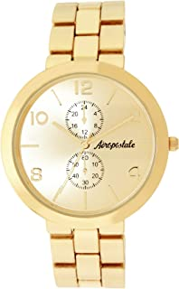 Aéropostale Womens Quartz Metal Gold Watch - Infinity Chronograph Dial - Casual Business Watch