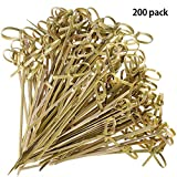 AooQie Cocktail Sticks 200 Counts Food Picks Japaneses Style Bamboo Knotted Skewers Bamboo Toothpicks with Twisted Ends party supplies-4.7 inches,12cm