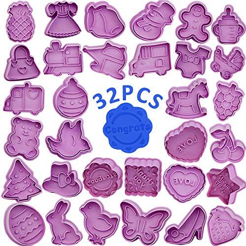 WENTS Ausstechformen Ausstecher Set 32 Stück Ausstecher Weihnachten Plätzchenformen für Kinder keksausstecher Set mit Auswerfer perfekt für Fondant Keks Backen Plätzchen Küche Zubehör