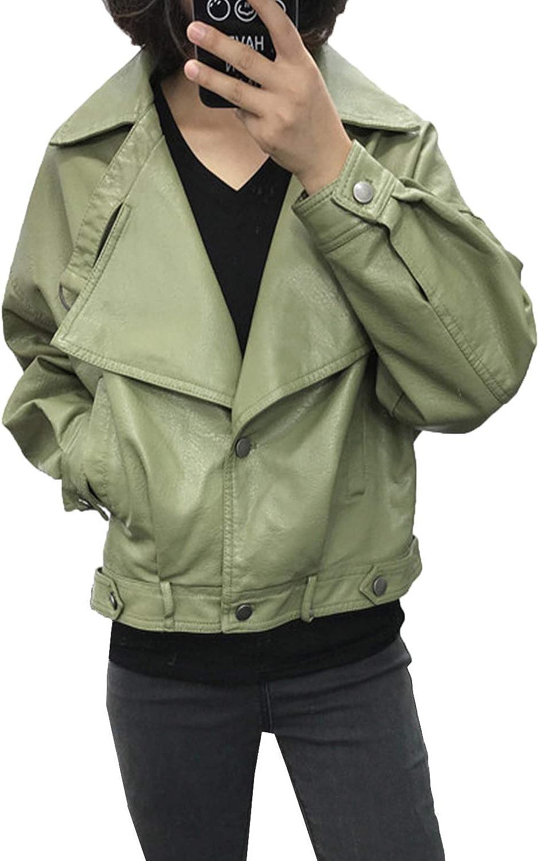 LY VAREY LIN Women's Faux Leather Short Jacket Moto Casual Coat Motorcycle Jackets