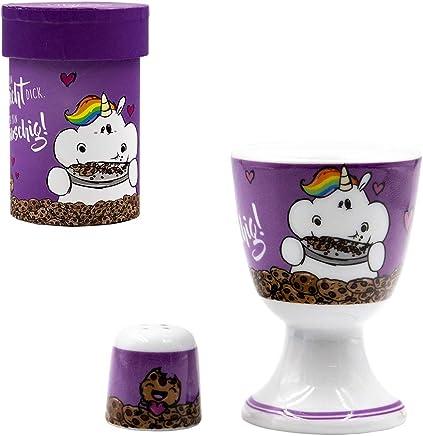 Preisvergleich für Pummeleinhorn Eierbecher mit Salzstreuer - Flauschig, lila