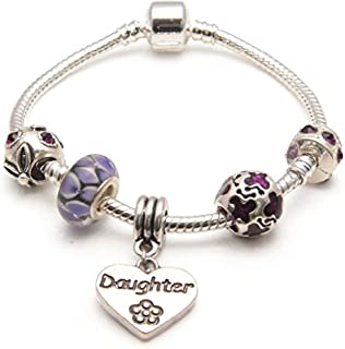 Liberty Charms Daughter 'Purple Rush' Silver Plated Charm/Bead Bracelet.