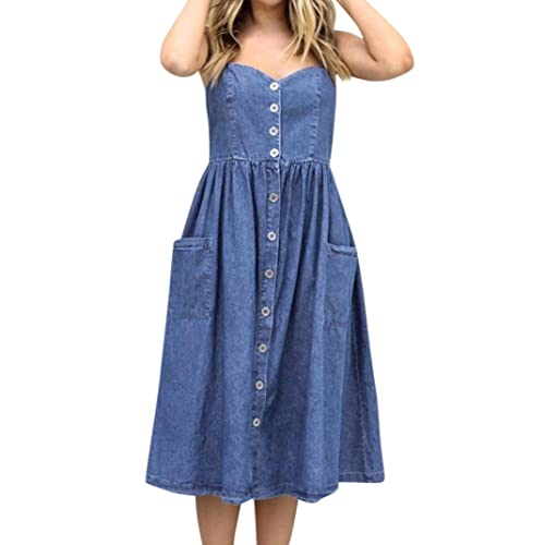 0560b636076c Women's Sleeveless Midi Dress - Saihui Adjustable Spaghetti Strap Button  Down Pocket Casual Denim Dresses Size