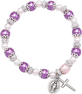 Women's Simulated Pearl Beaded Stretch Rosary Bracelet with Crucifix and Miraculous Medal