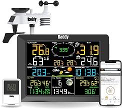 Raddy WF-100C Weerstation met buitensensor radio, 14-in-1 wifi-binnen-buitenthermometer met 10 inch digitaal kleurendispla...
