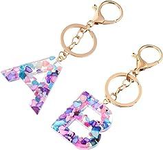 TOYANDONA 2pcs Initial Keychain AB Letter Alphabet Sweet Bag Key Chain Charm Pendant for Women Girl