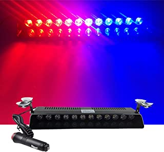 12V Car Truck Emergency Strobe Flash Light Sucker Dashboard Interior Windshield Warning Light Bar Current (12LED, Red and Blue)