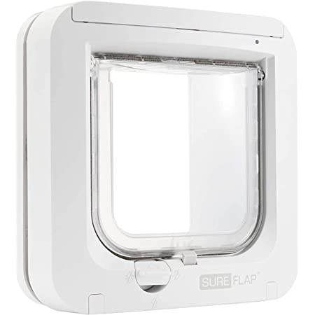"""SureFlap - Sure Petcare Microchip Cat Flap, White, Scans Pet's ID on Entry, Check Your Cat's Size,Flap Opening is 4 3/4"""" (H) by 5 5/8"""" (W)"""