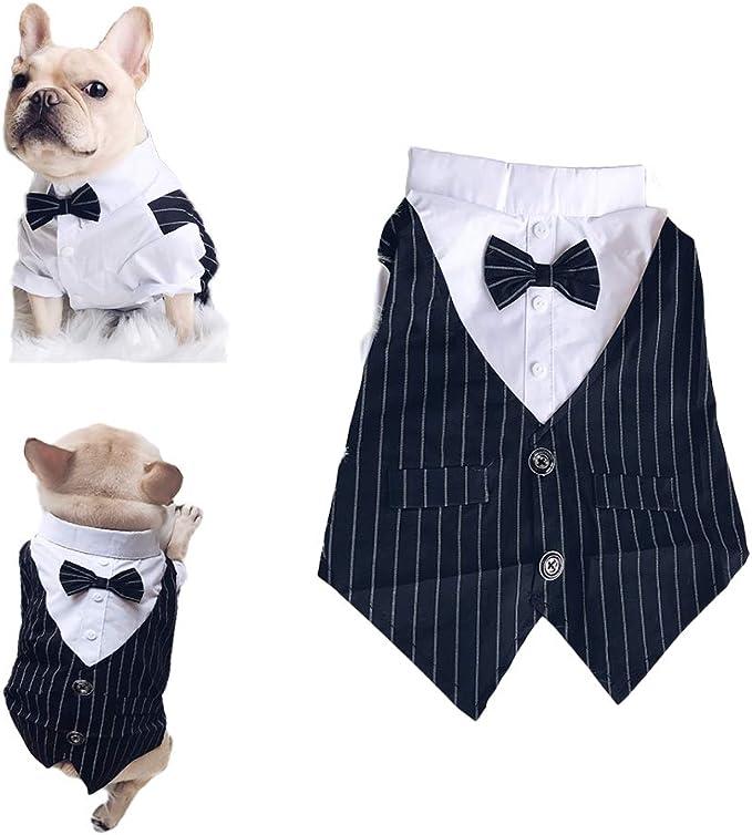 Meioro Ropa para Mascotas Camisa para Perros Perro Smoking Tie Bow Tie Shirt Adecuado para el Banquete de Boda Bulldog francés Bulldog Pug (XL, Camisa ...