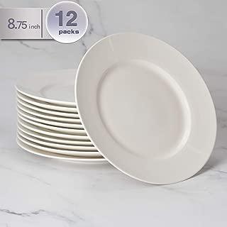 amHomel 12-Pack White Porcelain Dinner Plates, 8.75 Inches Desert Serving Platters