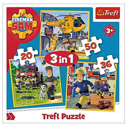 Trefl 5900511348446 Puzzle, Feuerwehrmann Sam in Aktion, von 20 bis 50 Teilen, 3 Sets, für Kinder ab 3 Jahren