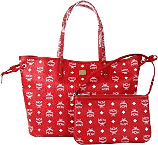 MCM Red White Reversible Visetos Monogram Tote With Pouch MWP8AVI62RV001