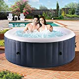 streakboard Inflatable Hot Tub with Air Jet System - Built in Heater & Air Pump, 2-4 Person Portable Massage Spa with 120 Bubble Jets, Cover, Filter, Safety Locks & Ground Sheet, for Patio, Backyard