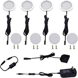 AIBOO 12V Under Cabinet LED Puck Lights Kit with Touch Dimmable Sensor Switch for Kitchen Cupboard Closet Lighting (4 Lights,Warm White)