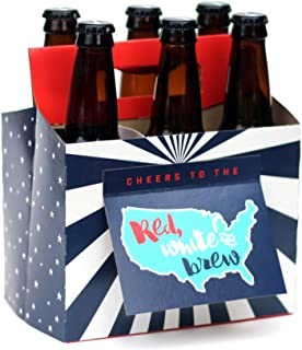 Beer Patriotic Gifts for Men or Women! Six Pack Greeting Card Box (Set of 4) - Use for Bar Condiment Caddy or Organizer. Great for Beer Hostess Gifts for Cookout, 4th of July Decorations