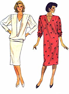 1980s Misses Dress Top Skirt Butterick 4021 Vintage Sewing Pattern Size 18 - 20 - 22