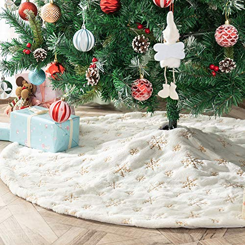 Atiming White Plush Christmas Tree Skirt with Gold Snowflake 48 inches Luxury Embroidery Snow Faux Fur Xmas Tree Base Cover Mat for Xmas New Year Home Party Decoratio (Gold Snowflakes, 48inch/122cm)
