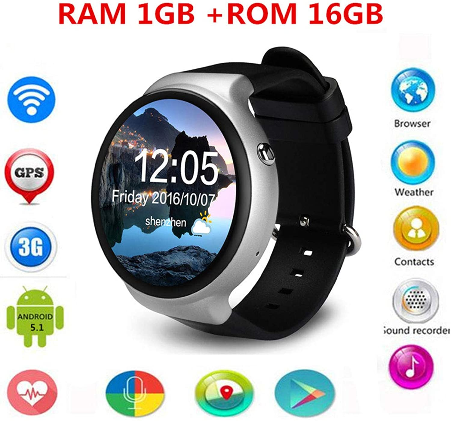 Fitness Tracker Smart Watch, Heart Rate Monitor Builtin Voice Search Support 3g Network Sim Card WiFi GPS blueetooth iOS Android Phone,Silver