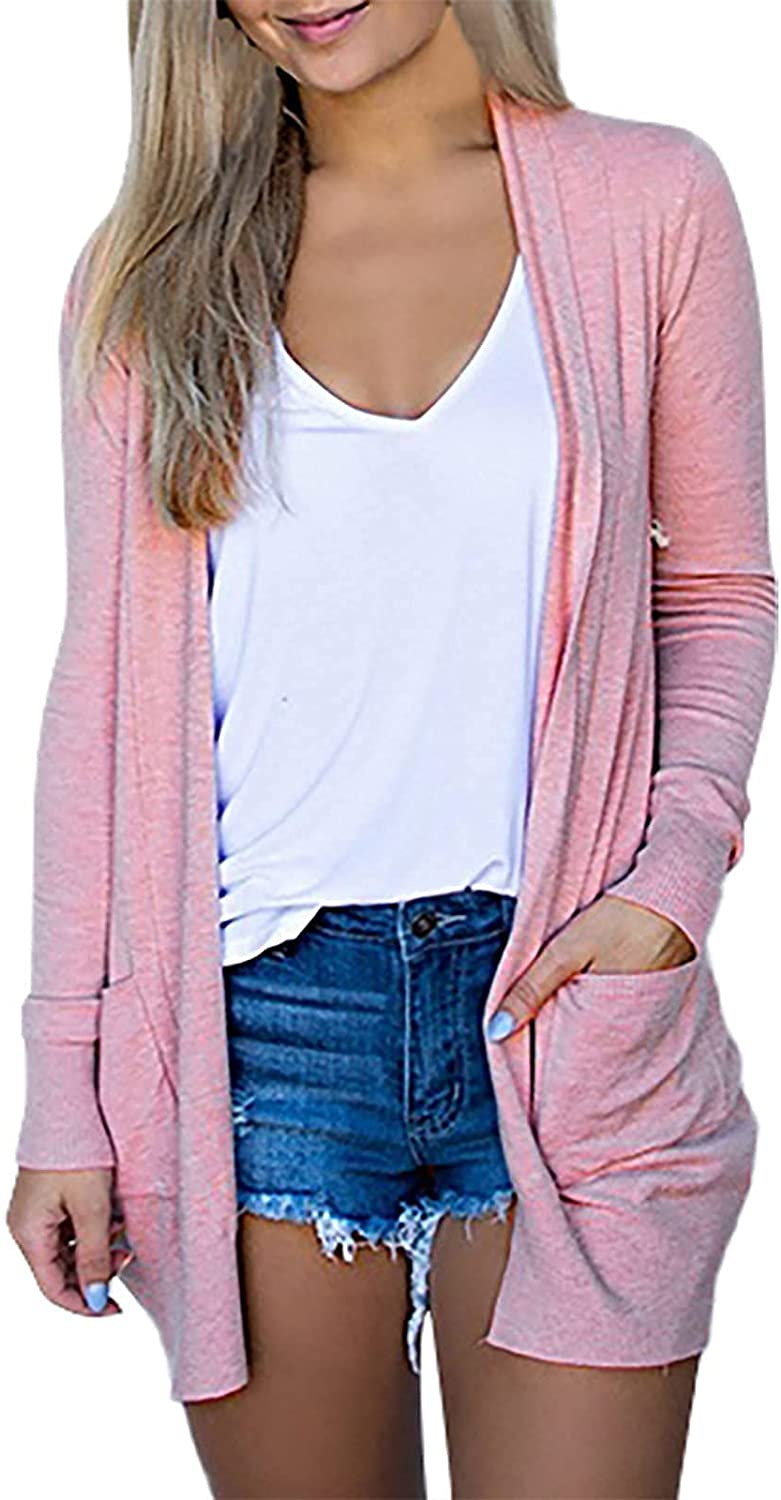 Cardigan Sweaters for Women Long Sleeve Light Weight Coat Long Soft Basic Knit Slim Outerwear
