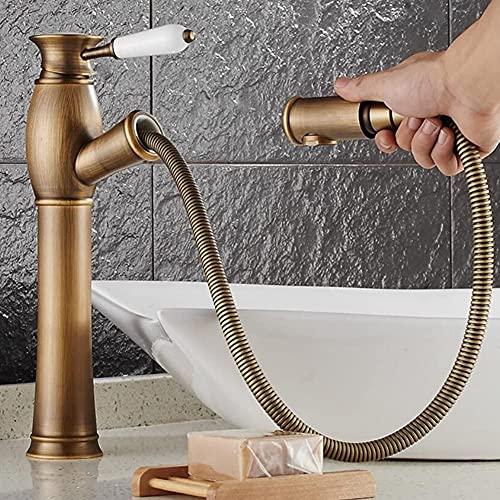Retro alto grifo de baño monomando para lavabo con extraíble/extensible ducha de mano monomando monomando para lavabo grifo monomando para lavabo grifo de baño de latón