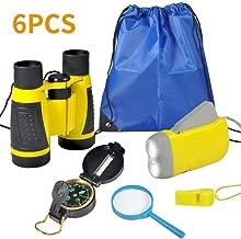 VGEBY 6pcs Kit Adventure - Binocolo, Torcia a Manovella, Bussola, Lente d'Ingrandimento, Fischietto e Zaino con Coulisse, Kit di Esplorazione per Bambini per Campeggio e Escursionismo