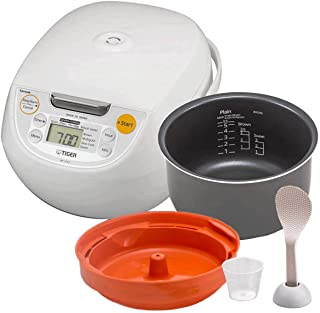 Tiger Japan Made Synchro-Cooking 5.5-Cup Micom Rice Cooker and Warmer with 10 Cooking Menu Settings, Stainless Steel Non-Stick Inner Pot and Tacook Cooking Plate, Lets you Cook Rice and Main Dish at the Same Time