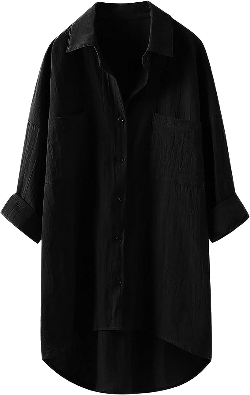 Bianstore Women's Oversized Linen mart Shirts Long Blouses Max 70% OFF Sleev Tops