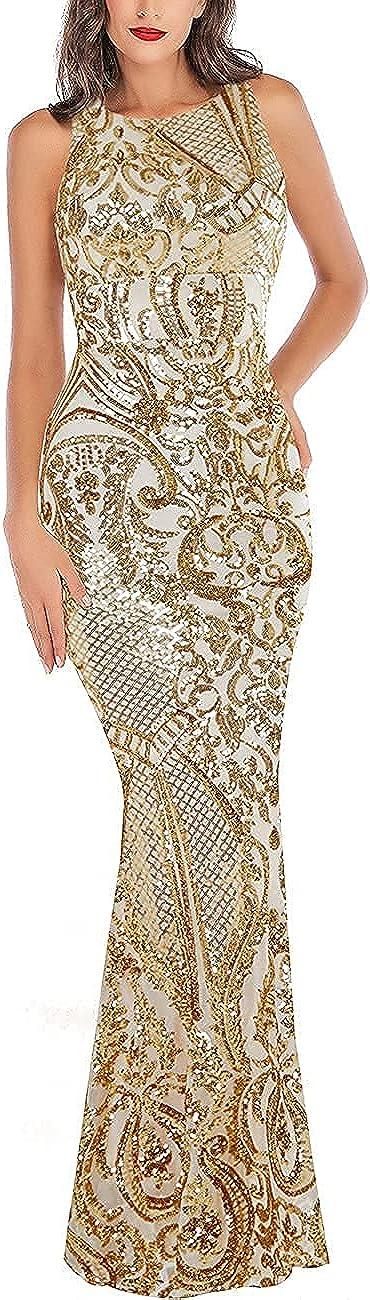 A ARFAR Women Sequin Mermaid Dress Sexy Backless Dress Formal Party Gowns Maxi Long Summer Dress Cut-Off Back