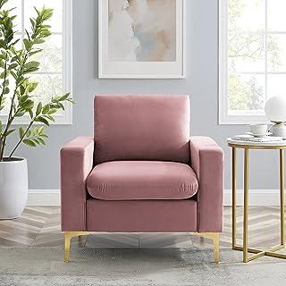 Hbaid Velvet Accent Chair, Sofa Chairs Comfy Single Sofa High-Back Club Armchair for Bedroom Reading Mid-Century Modern Li...