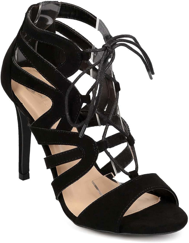 Wild Diva Women Suede Peep Toe Strappy Gilly Tie Single Sole Sandal EG71 - Black