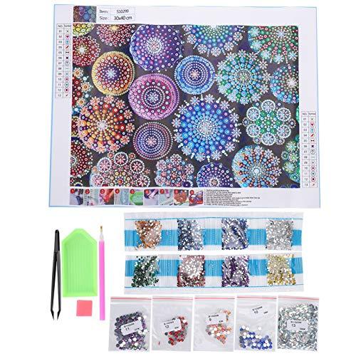 Kits de Pintura de Diamantes 5-D, Arte de Flores de Mandala Colorido Pinturas de Diamantes de Taladro Parcial de Forma Especial por Número Cuadros Decorativos para Manualidades de Bricolaje