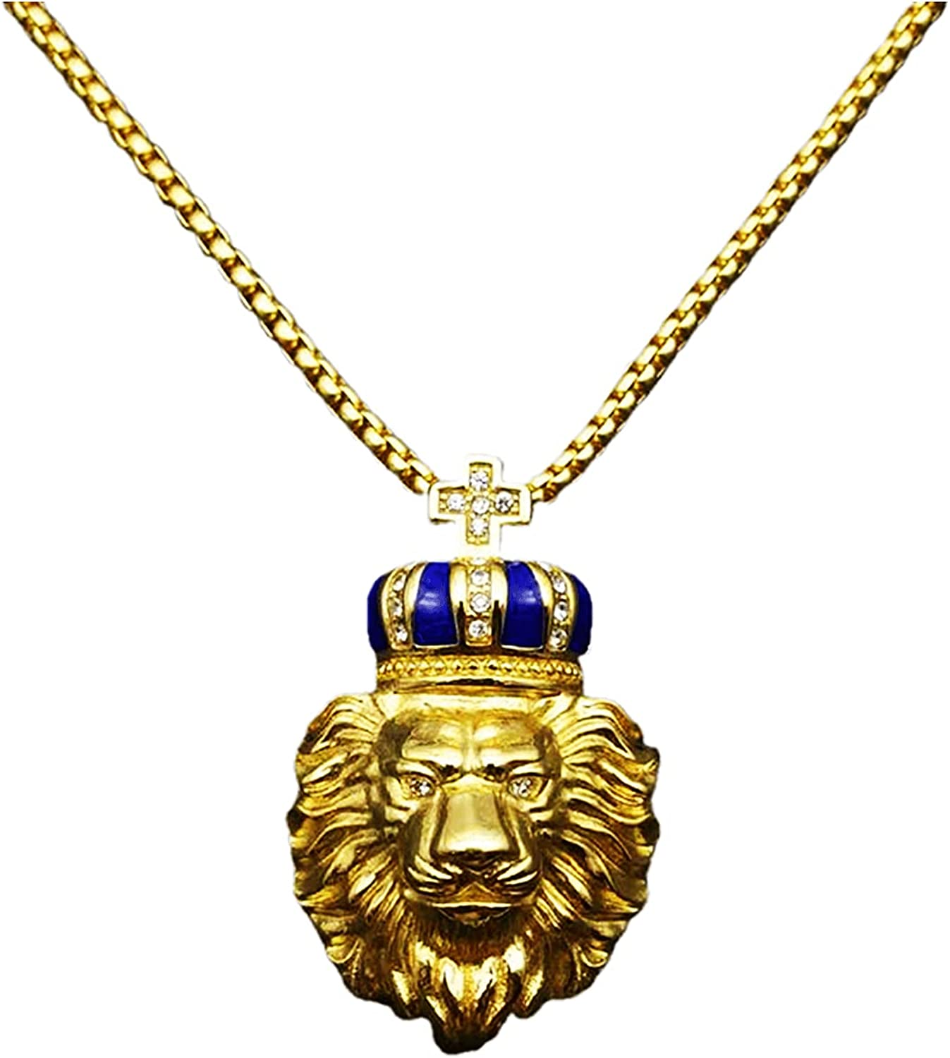 Ouvia Crown Leo Pendant Necklace Lion King Simba style Vintage Animal Stainless Steel Necklace Hip Hop Punk Rock Clubs Disco Halloween boys jewelry Cuban Link chain for men things for teens Iced Out
