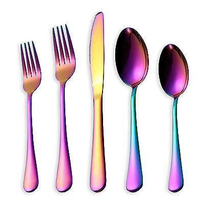 HOMQUEN 20 Piece Rainbow Flatware Set, Stainles...