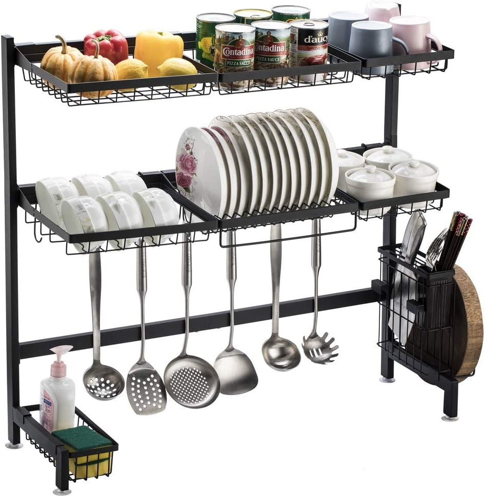 Bonnlo Over Regular discount Sink Max 79% OFF Dish Drying Rack Tier 1 Duty 2 Heavy Stainles